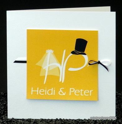 """Hochzeitseinladung """"Brautpaar"""" gelb"""