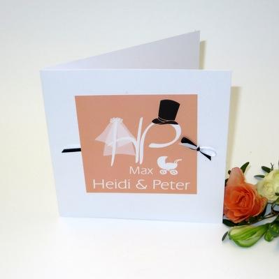 """Einladungskarte Hochzeit und Taufe """"Brautpaar"""" apricot"""