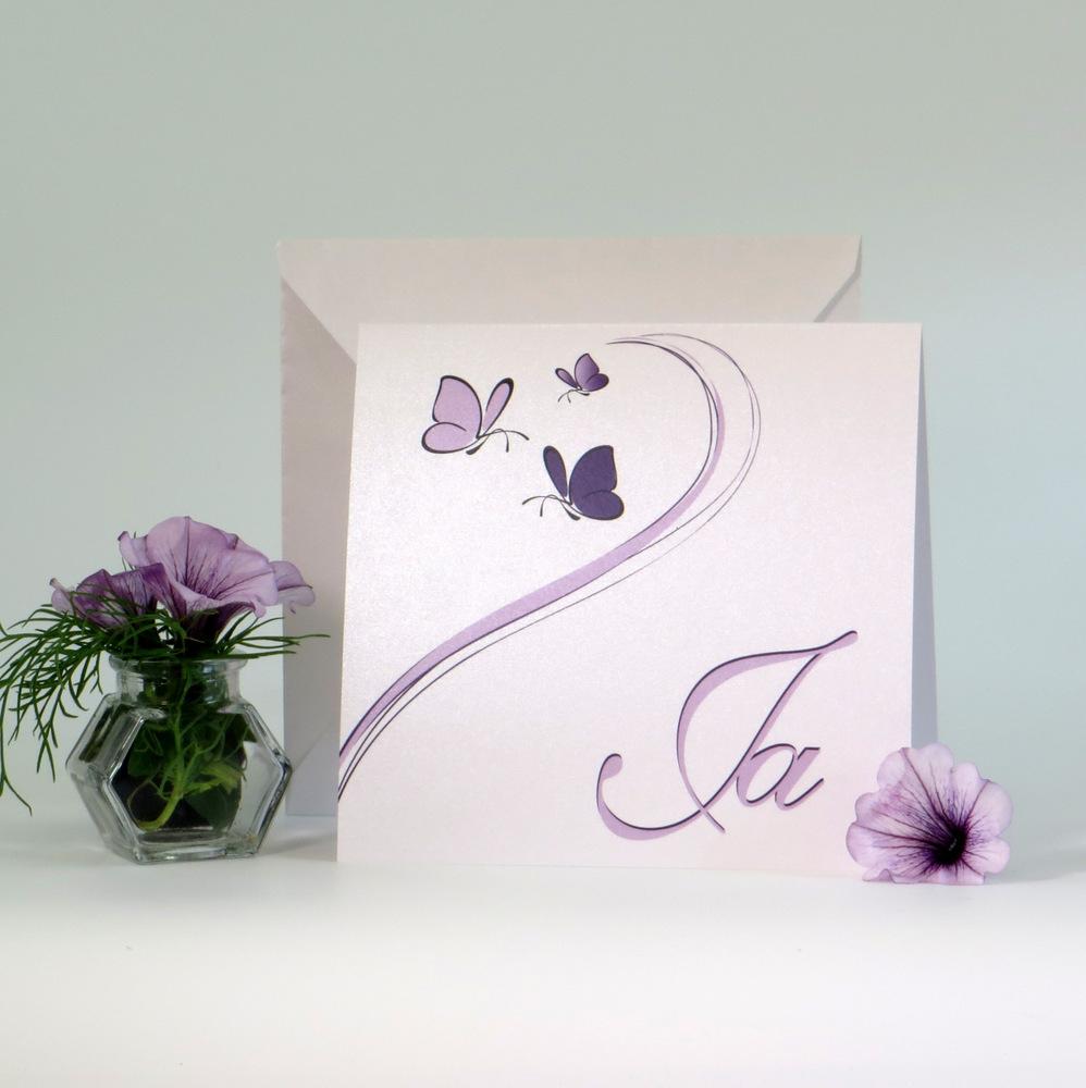 "Einladung Traufe ""Schmetterlinge"" lila"