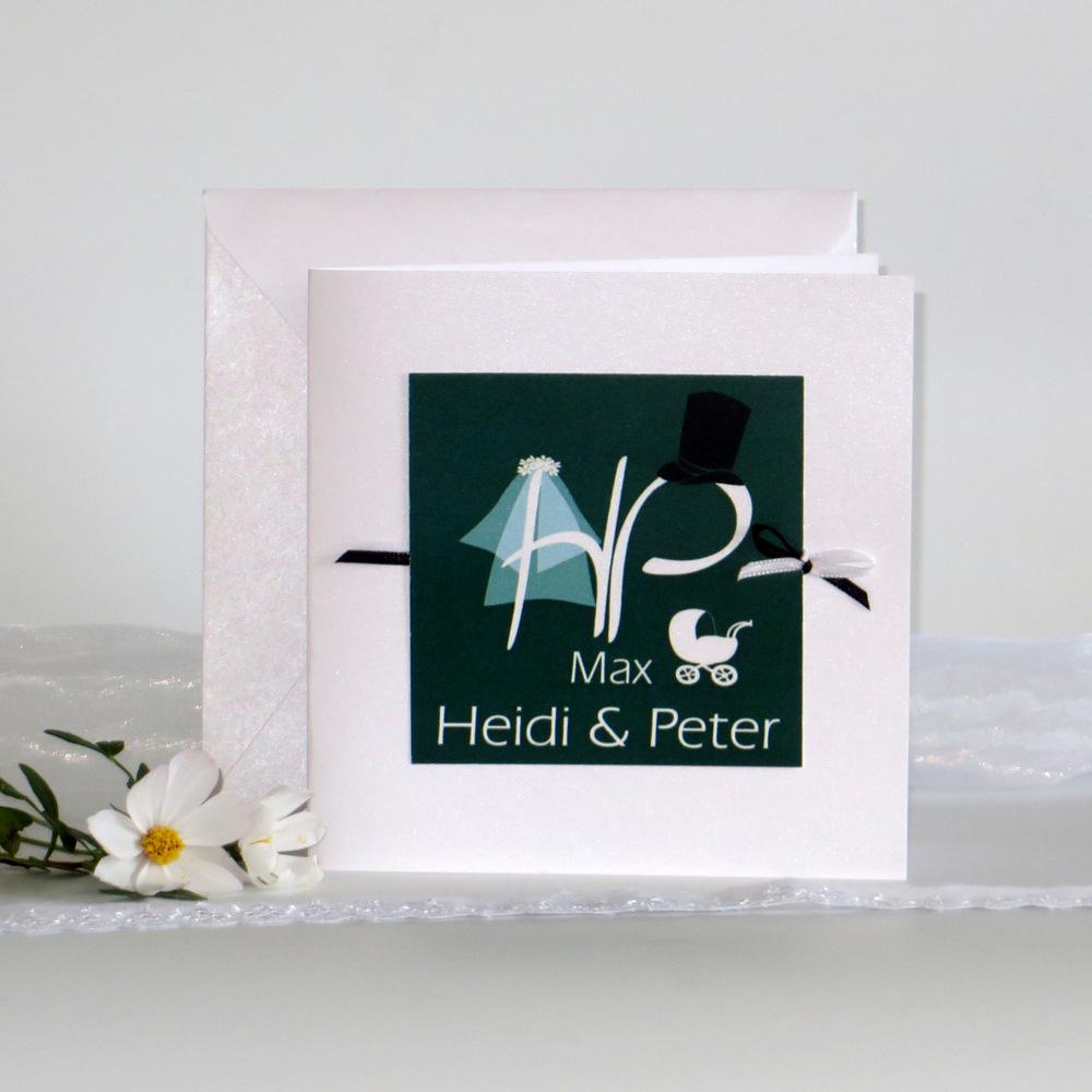 """Einladungskarte Hochzeit mit Taufe """"Brautpaar"""" dunkelgrün"""