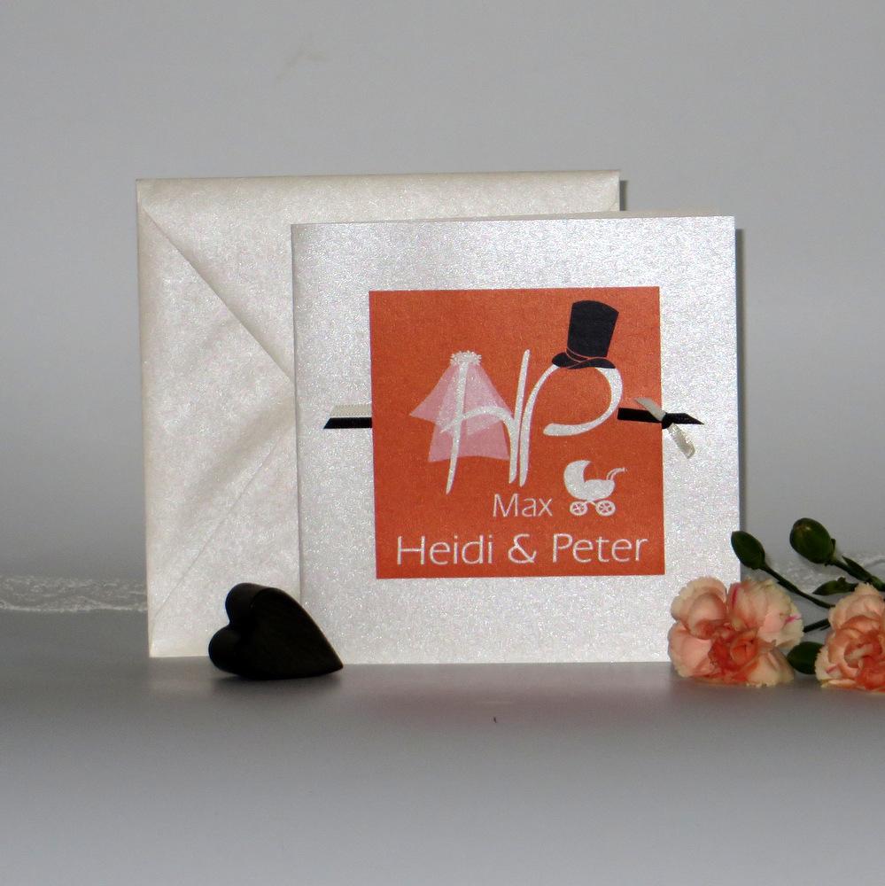 """Einladungskarte Hochzeit und Taufe """"Brautpaar"""" orange"""