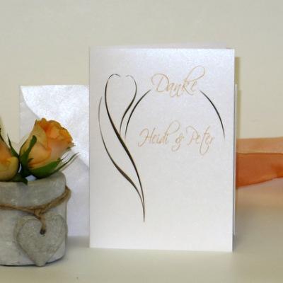 "Danksagungskarte ""Blüte"" apricot"