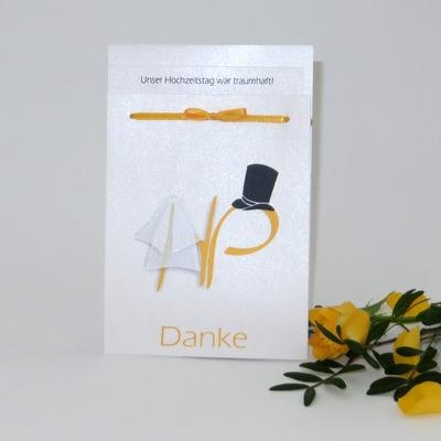 "Danksagung Fototasche ""Brautpaar"" gelb"