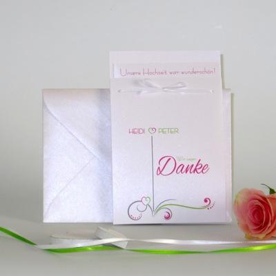 """Danksagung Fototasche """"Design in grün & pink"""""""