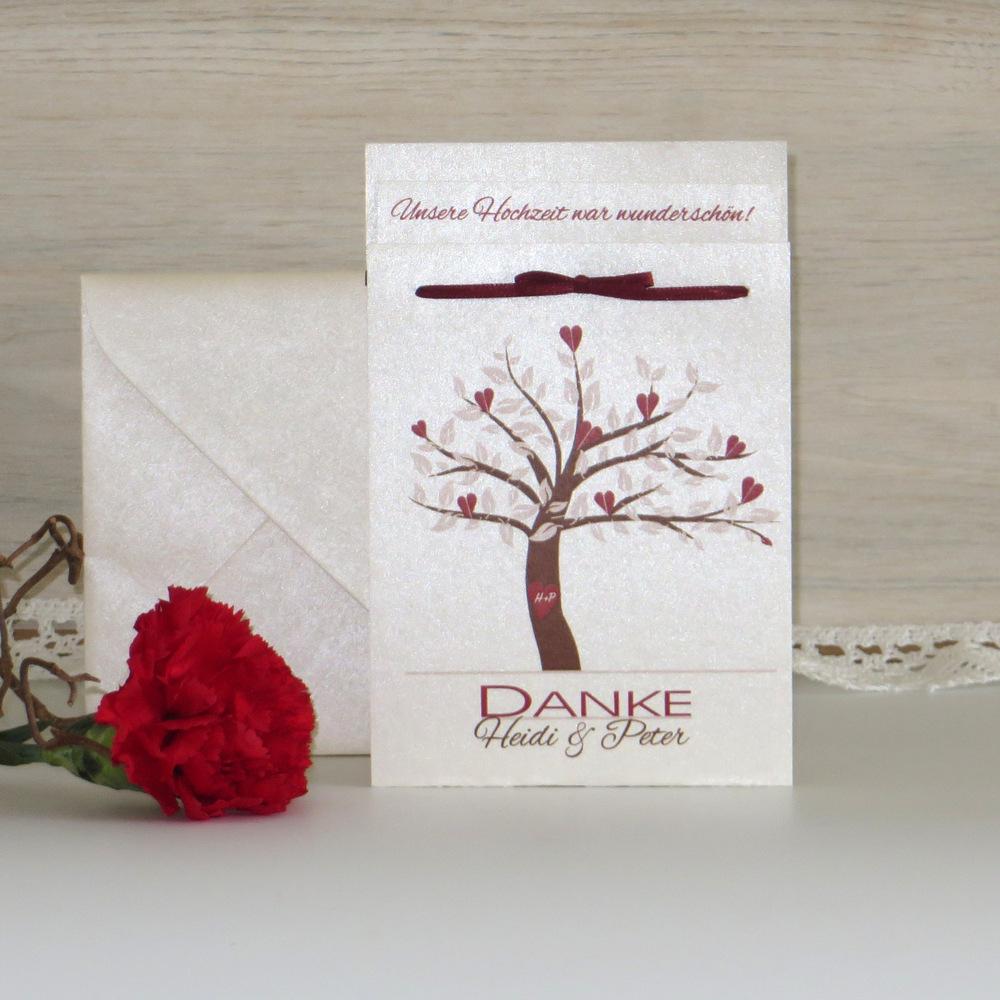 """Danksagung Fototasche """"Baum"""" rot+braun"""