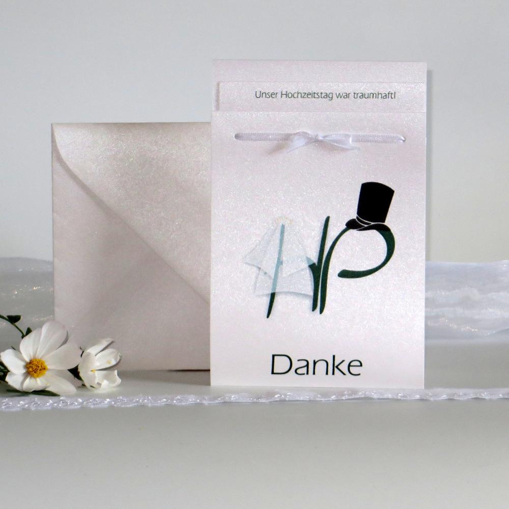 """Danksagung Fototasche """"Brautpaar"""" dunkelgrün"""