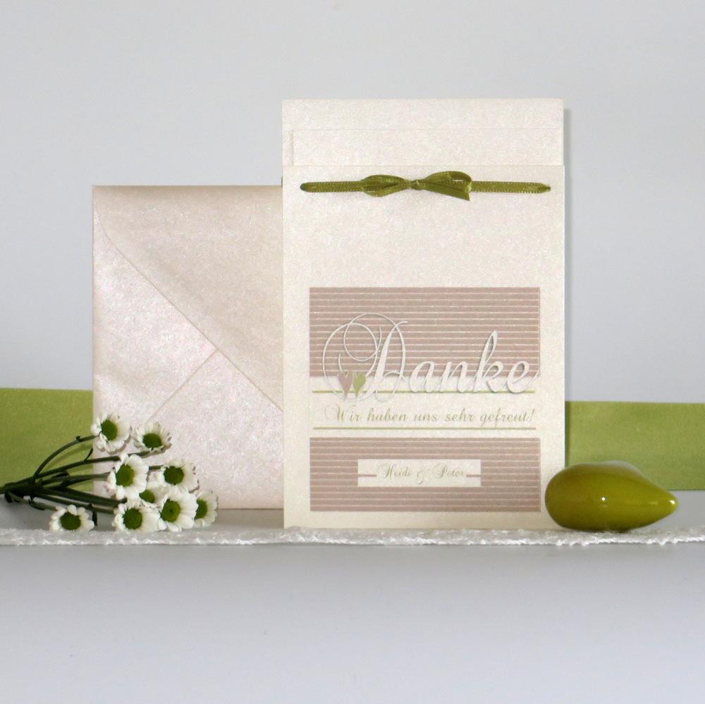"Danksagung Fototasche ""Glück"" creme&grün"