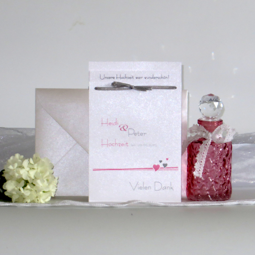 Danksagung Fototasche Herzchen rosa