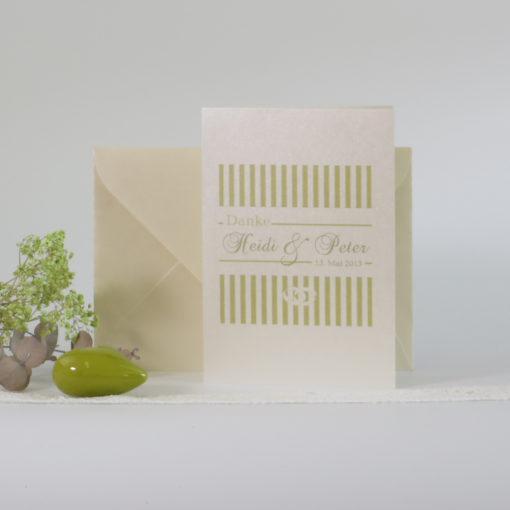 "Danksagungskarte ""Ringe"" champagner & grün"