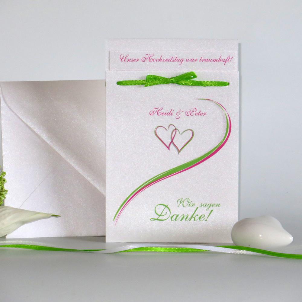 """Danksagung Fototasche """"Herzpaar"""" pink&grün"""