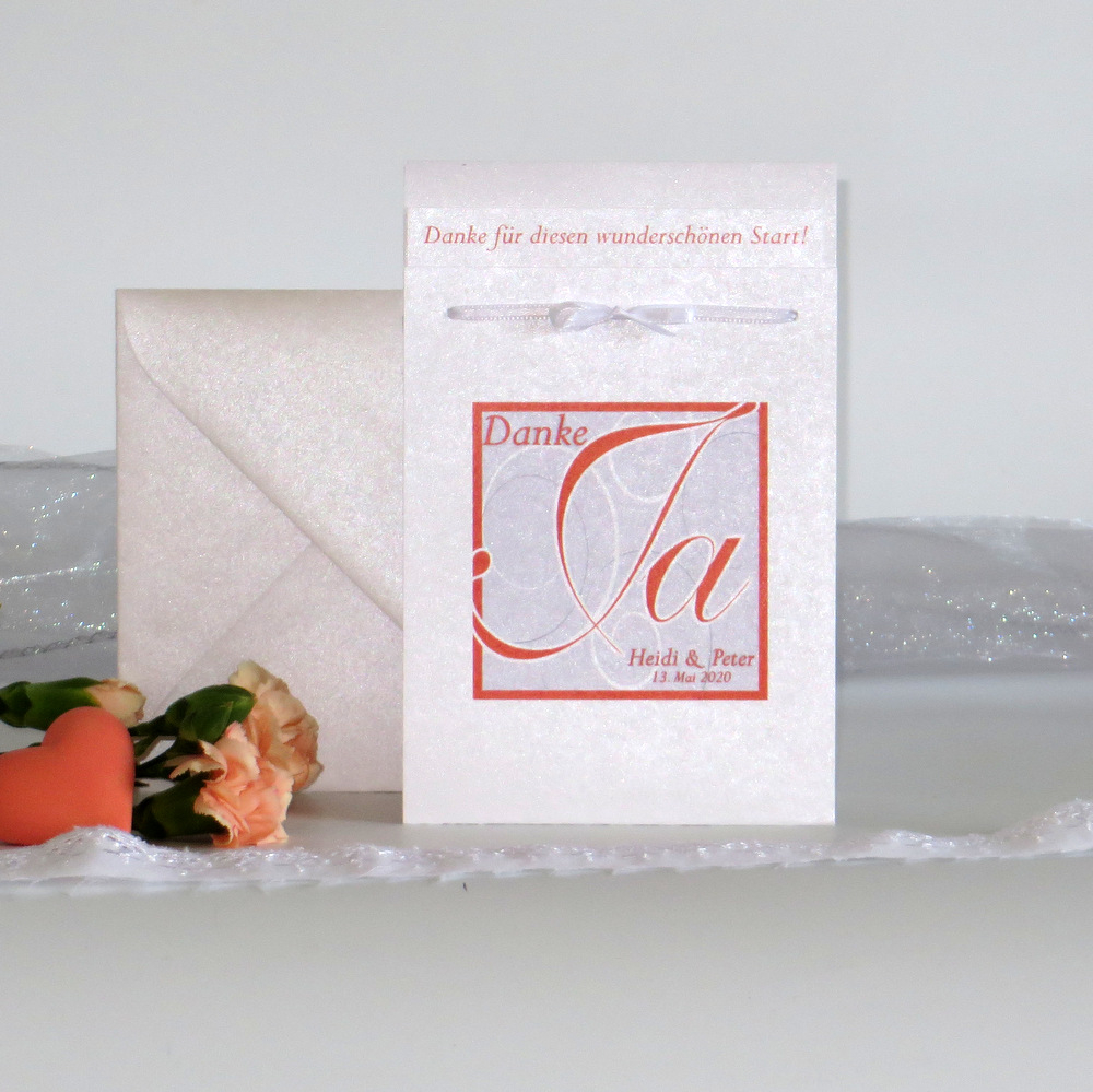 """Danksagung Fototasche """"Ja-Wort"""" orange"""