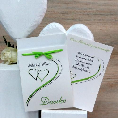 """Hochzeitsdanksagung """"Harmonie"""" in grün"""
