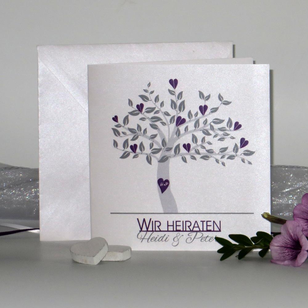 """Hochzeitseinladung """"Baum"""" lila"""