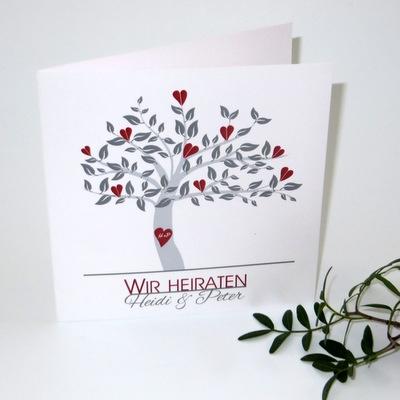 """Hochzeitseinladung """"Baum"""" rot"""