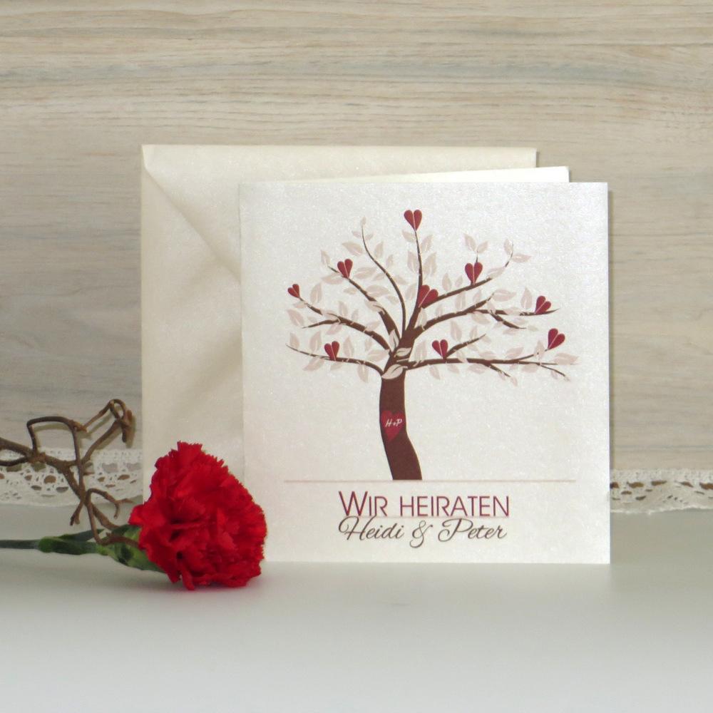 """Hochzeitseinladung """"Baum"""" rot+braun"""