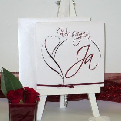 """Hochzeitseinladung """"Blüte"""" rot"""