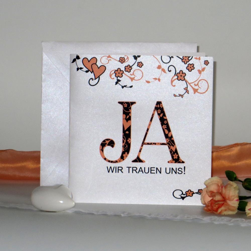 """Hochzeitseinladung """"Blumenornament"""" orange"""