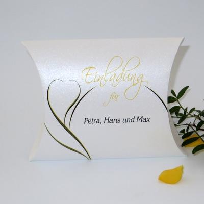 """Hochzeitseinladungsbox """"Blüte"""" gelb"""