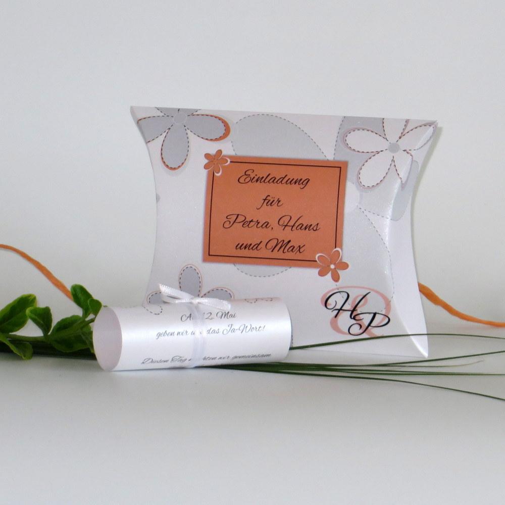 """Hochzeitseinladungsbox """"Blumen"""" orange"""