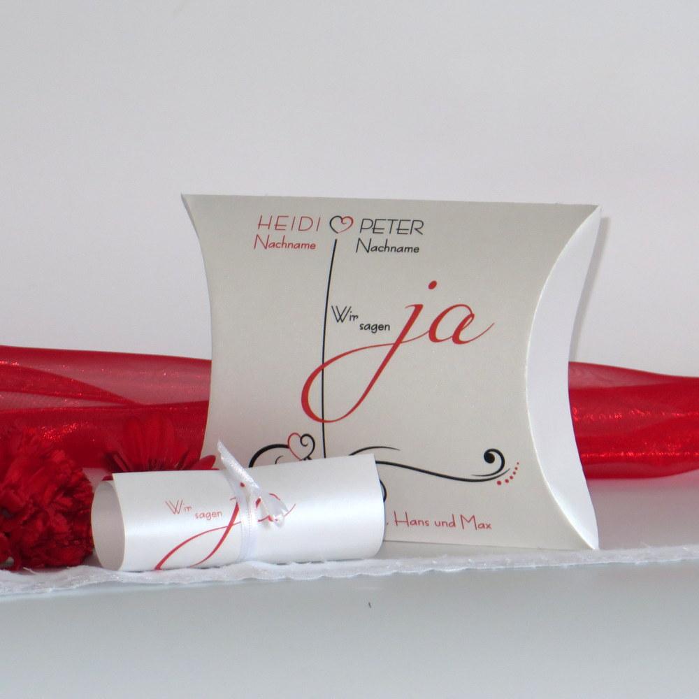 """Hochzeitseinladungsbox """"Design in rot & schwarz"""""""