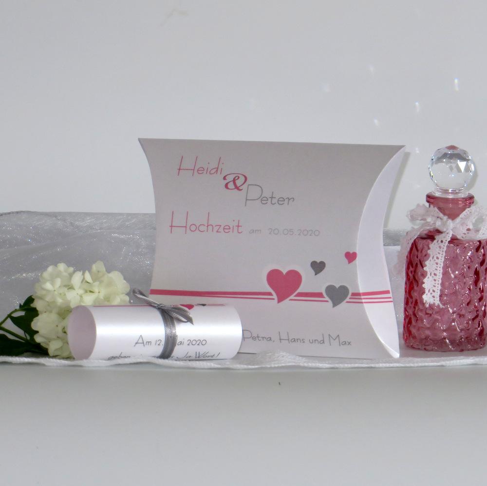 Hochzeitseinladungsbox Herzchen rosa