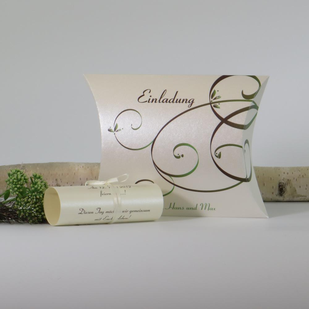 """Hochzeitseinladungsbox """"Mix braun & grün"""""""