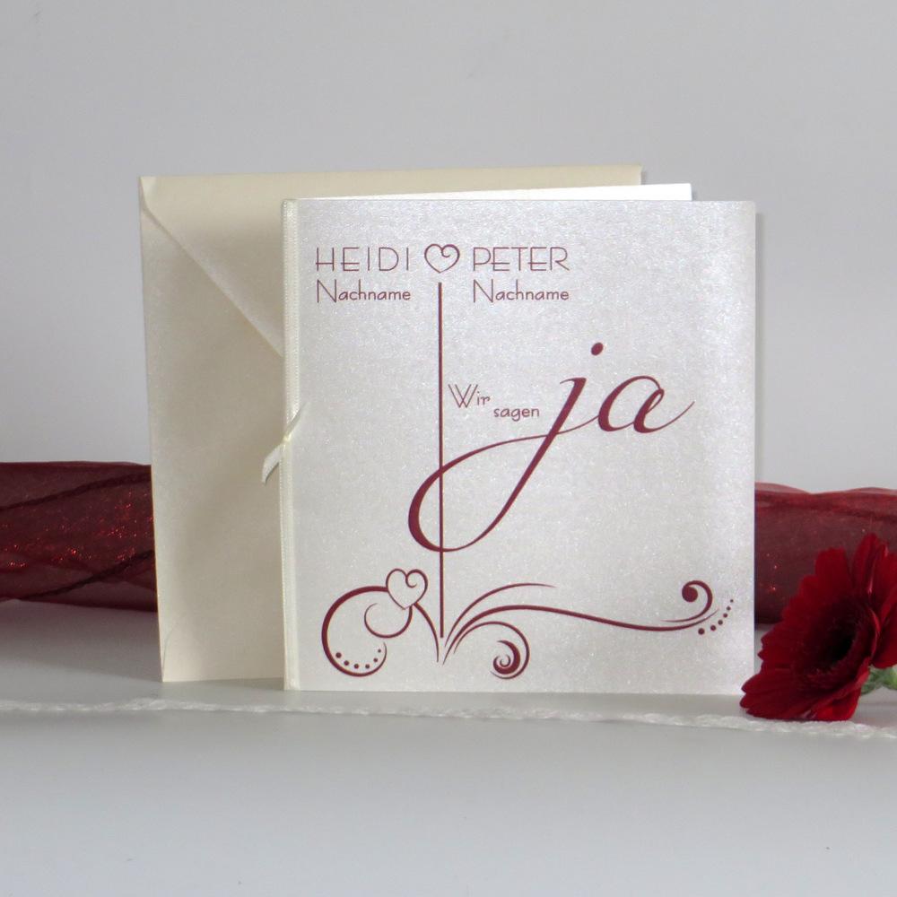 """Hochzeitseinladung """"Design in bordeaux"""""""
