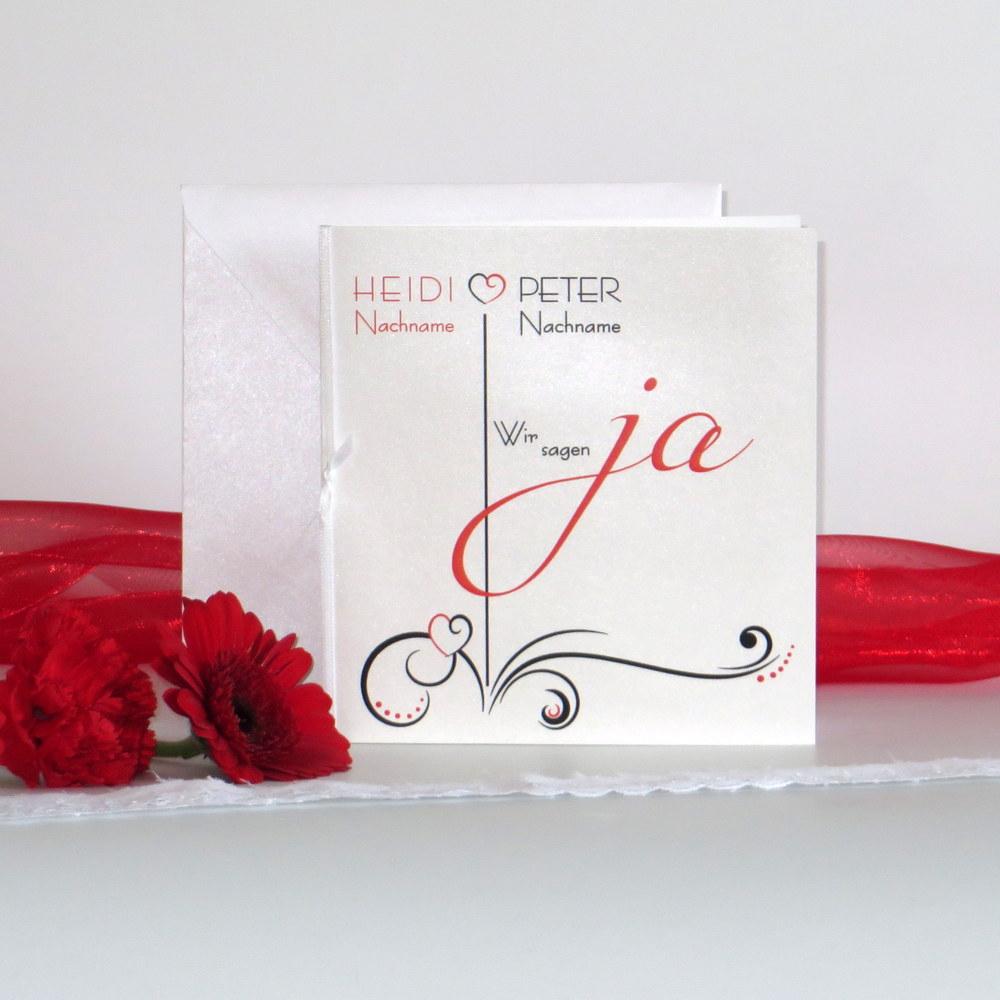"""Hochzeitseinladung """"Design in rot & schwarz"""""""