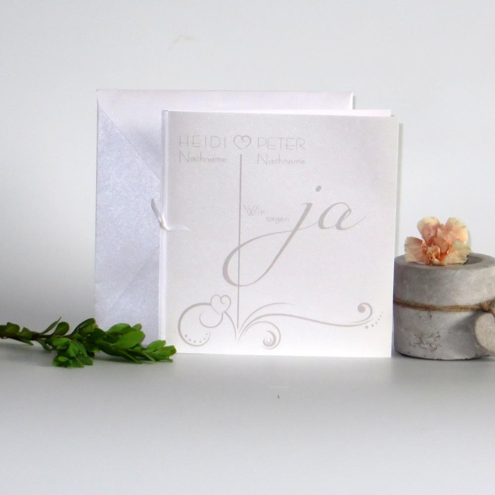 """Hochzeitseinladung """"Design in weiß & hellbraun"""""""