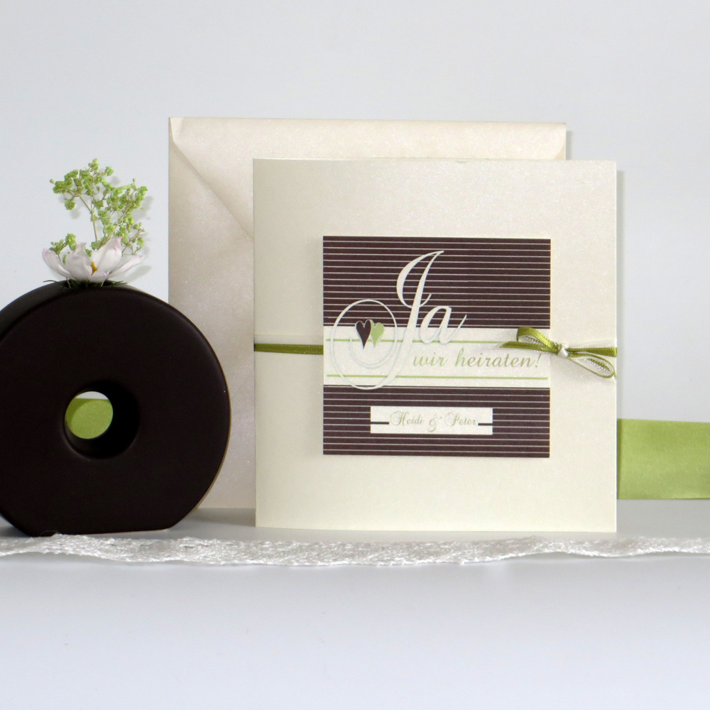 """Hochzeitseinladung """"Glück"""" braun&grün"""