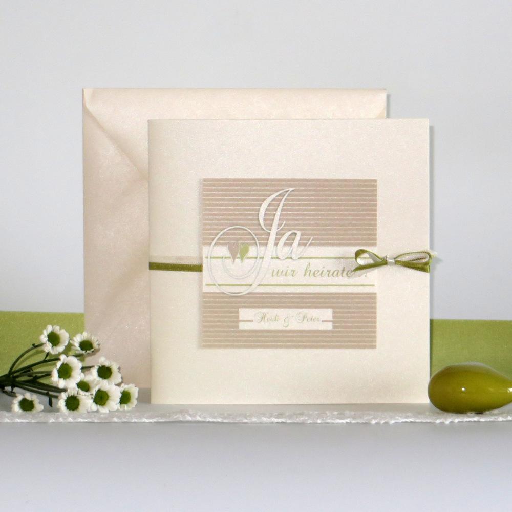 """Hochzeitseinladung """"Glück"""" creme&grün"""