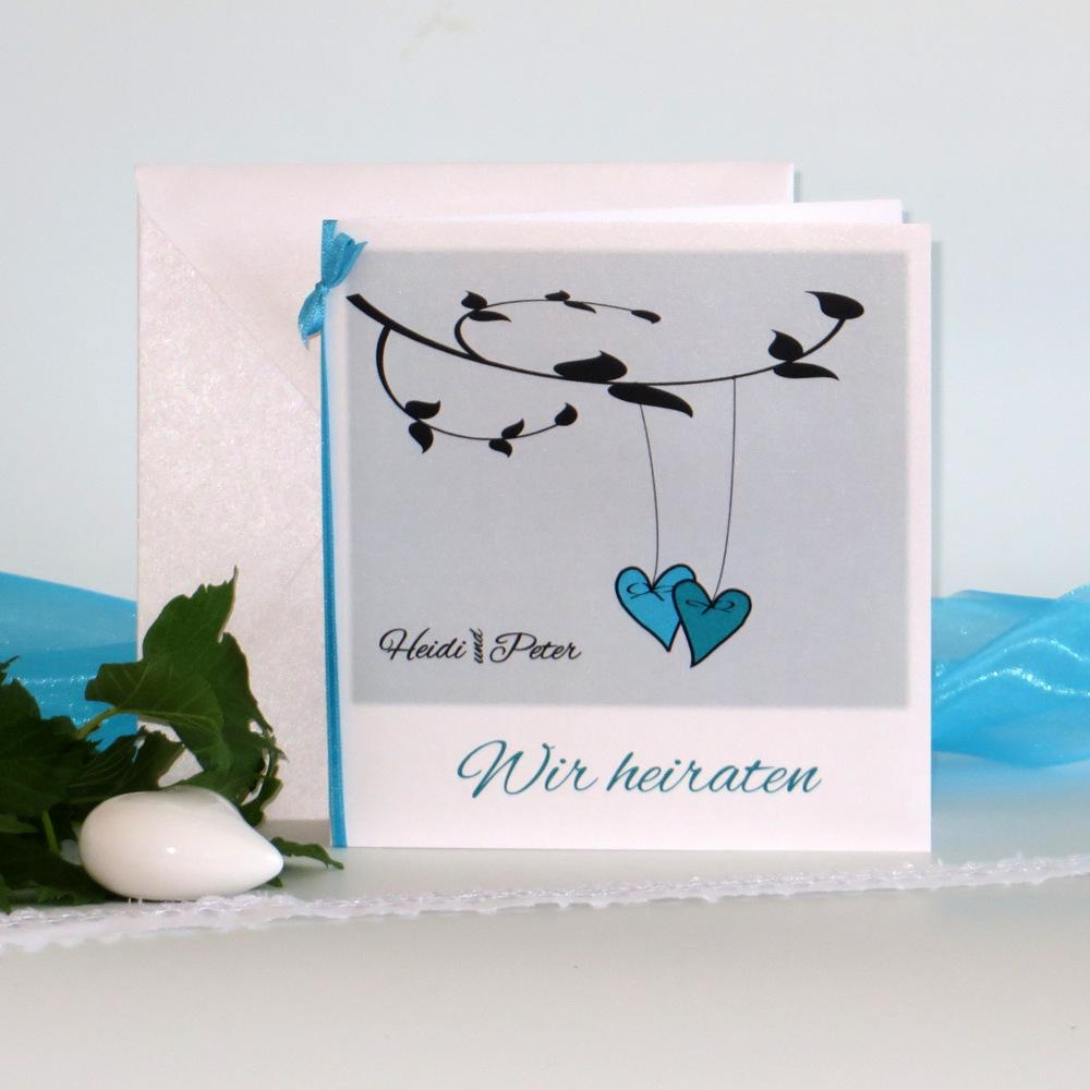 """Hochzeitseinladung """"Herzen am Ast"""" türkis"""