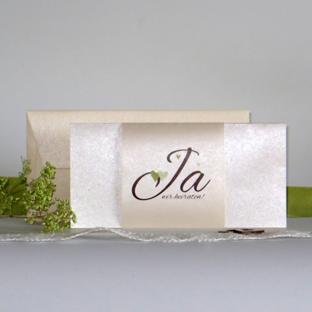 """Hochzeitseinladung """"Herzle"""" braun-grün-creme"""