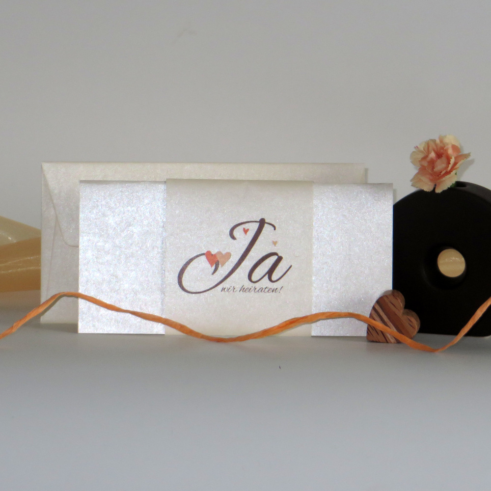 """Hochzeitseinladung """"Herzle"""" orange & braun"""