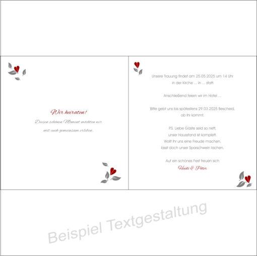"""Hochzeitseinladung """"Baum"""" rot Innentextgestaltung"""