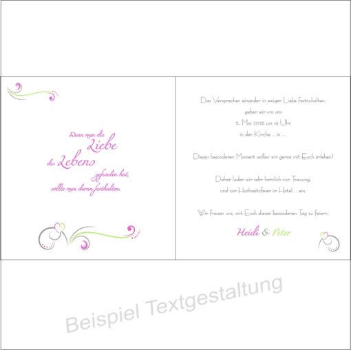 """Hochzeitseinladung """"Design in grün & pink"""" Innentextgestaltung"""