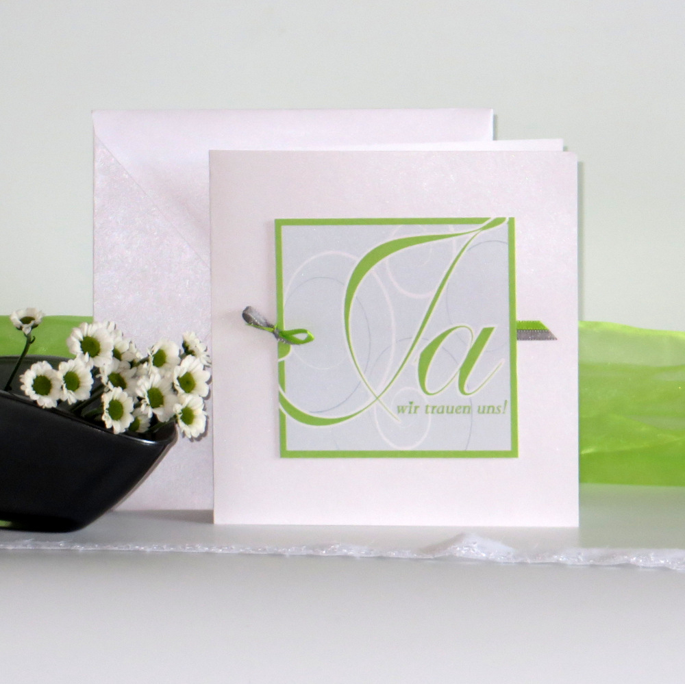 """Hochzeitseinladung """"Ja-Wort"""" grün"""