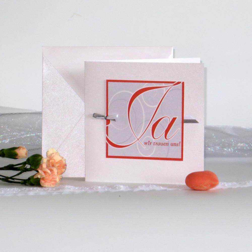 """Hochzeitseinladung """"Ja-Wort"""" orange"""