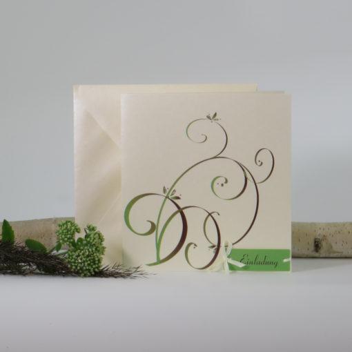 """Hochzeitseinladung """"Mix braun & grün"""""""