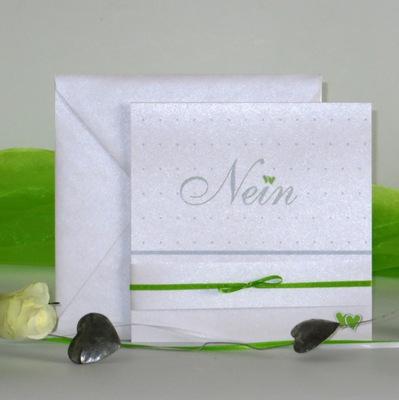 """Außergewöhnliche Hochzeitseinladung """"NEIN """" in grün und weiß"""