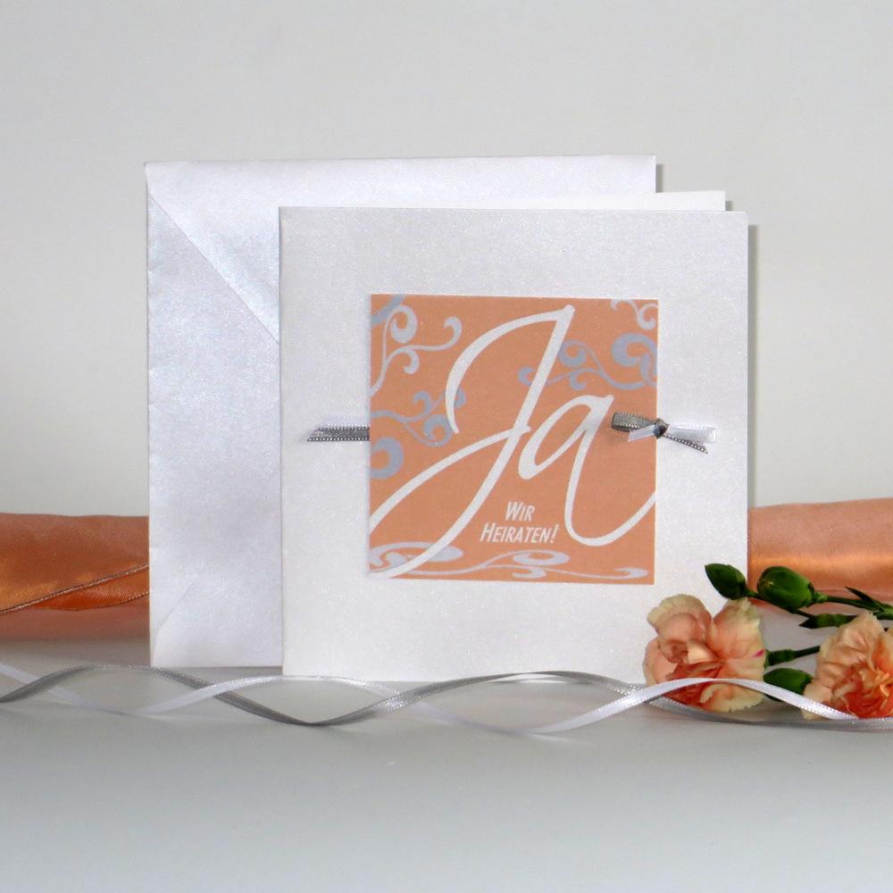 """Hochzeitseinladung """"Traumhochzeit"""" apricot"""