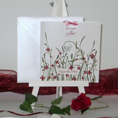 Extravagante Hochzeitseinladung in rot - unsere Hochzeitswiese
