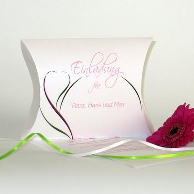 """Hochzeitseinladungsbox """"Blüte"""" pink & grün"""