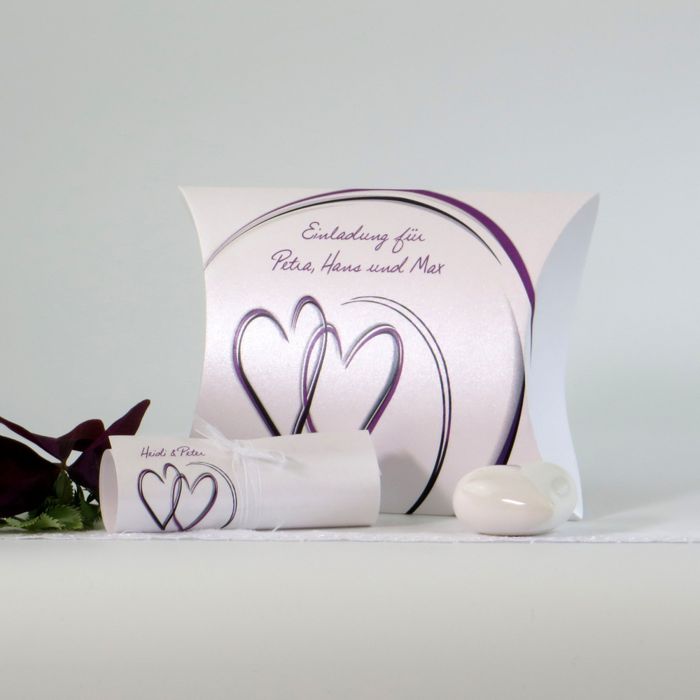"""Hochzeitseinladungsbox """"'Duo"""" aubergine"""