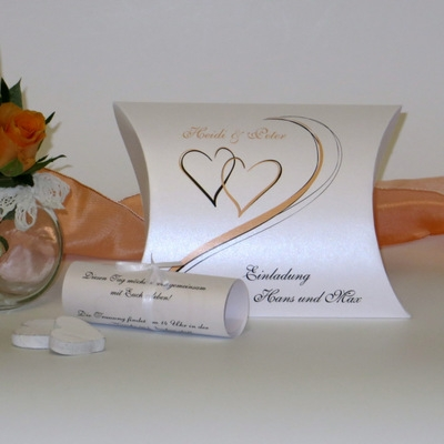 """Hochzeitseinladungsbox """"Harmonie apricot"""""""
