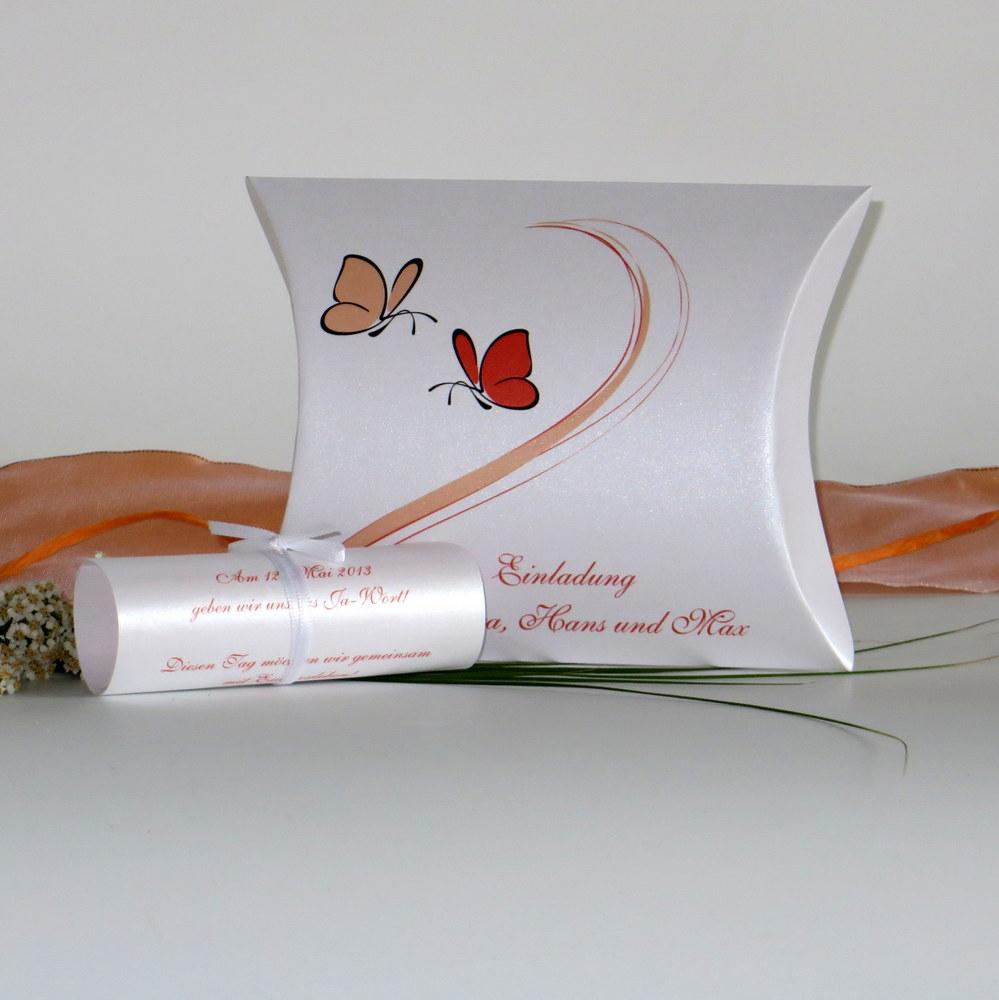 """Hochzeitseinladungsbox """"Schmetterlinge"""" orange"""