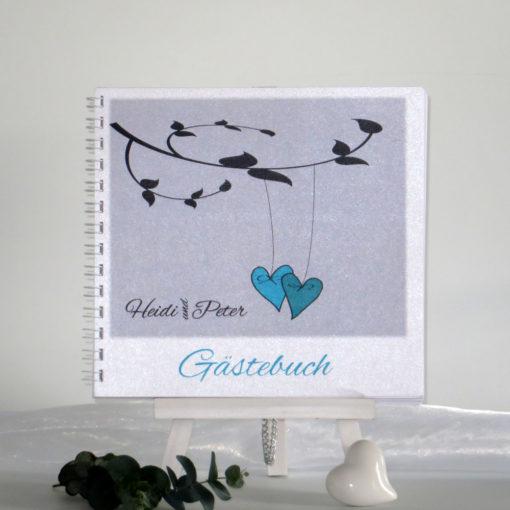 """Gästebuch """"Herzen am Ast"""" türkis"""