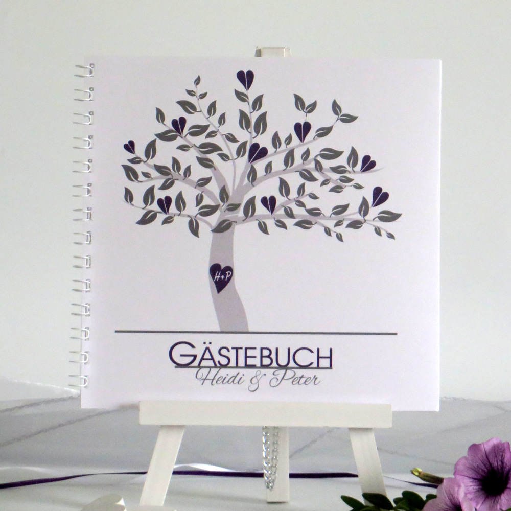 """Gästebuch """"Baum"""" lila"""