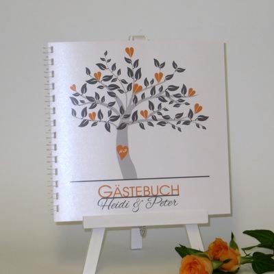 """Gästebuch """"Baum"""" orange"""