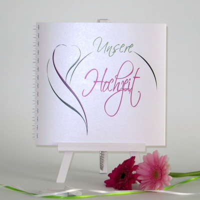 "Gästebuch ""Blüte"" pink & grün"
